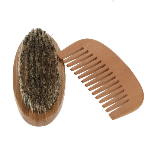 Men's Beard Brush & Comb Kit Boar Bristles Mustache Shaving Brush Wooden Beard Comb Male Facial Hair Brush Set