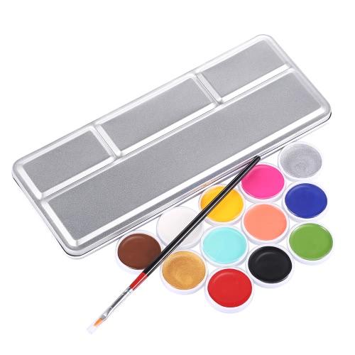 Buy 12 Color Face Paint Kit Body Palette Halloween Party Oil Set Washable Skin Makeup Tool