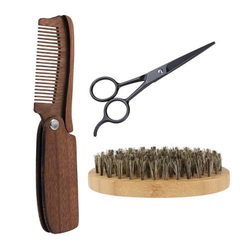 3Pcs Men's Beard Brush Comb Scissor Kit Boar Bristle Shaving Brush + Amoora Beard Comb + Stainless Steel Scissor Male Facial Hair Brush Set