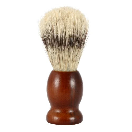 Bristle Shaving Brush with Wood Handle Men's Shave Brush for Razor Male Facial Cleaning Brush for Beard Brown Handle