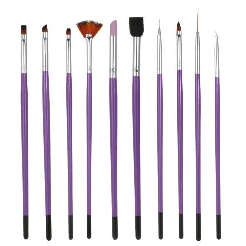 Buy 1Nail Art Painting Brush Set Nylon Finger-nail & Toenail Dotting Pen UV Gel Purple Nail Salon Decoration Tools