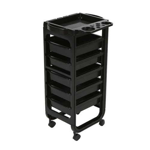 Buy Beauty Salon Cart Storage Rolling Drawers Tray Hairdressing Trolley Black Hair Barber