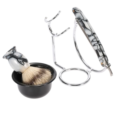 Buy Anself 4 1 Men's Shaving Razor Set Pure Badger Brush + Stainless Steel Stand Soap Bowl Male Facial & Cleaning Tool
