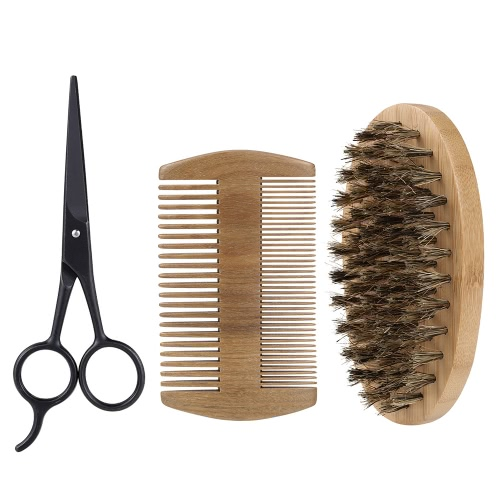 3Pcs Men's Beard Brush Comb Scissor Kit Boar Bristle Shaving Brush + Verawood Beard Comb + Stainless Steel Scissor Male Facial Hair Brush Set