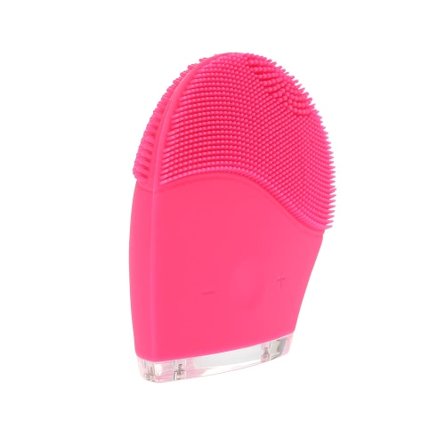 Silicone Vibration Brush Electric Facial Cleaner Waterproof Massage Brush Silicone Face Brush Chargeable Washing Tool Rose Red