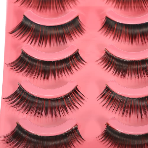 5 Pairs Upper Eyelashes False Eyelash Hand-made Natural Soft Fake LashesThick & Long Women Eye Lashes Makeup Tool