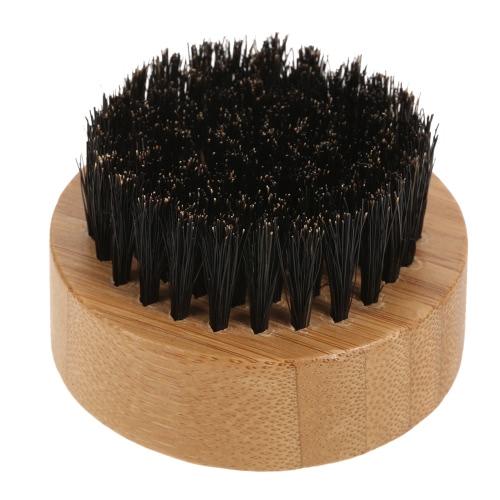 Men's Boar Bristle Beard Brush Mustache Shaving Brush Facial Hair Brush Bamboo Round Handle