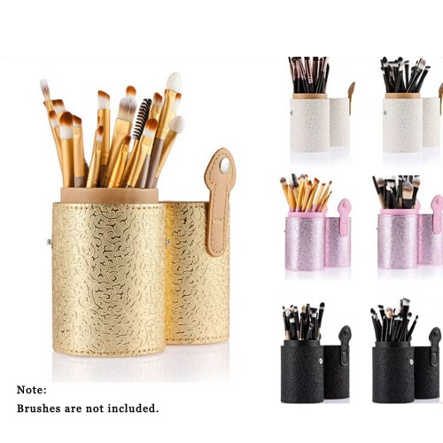ANSELF Makeup Brush Holder Brushes Cup Container Organizer PU Cosmetic 4 Colors Storage Tool Brushes Round Tube Holder Golden