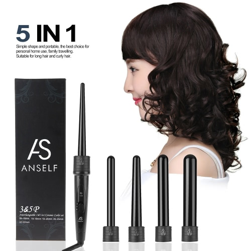 Buy Professional Hair Curler Roller 5 1 Functions Cylindrical Curling Irons Wand Set Rechargeable Perm Instrument Black US Plug