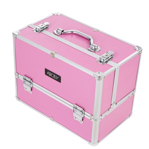 Buy Abody Aluminum Makeup Train Case Cosmetic Organizer Jewelry Storage Box Lockable 6 Extendable Trays Pink