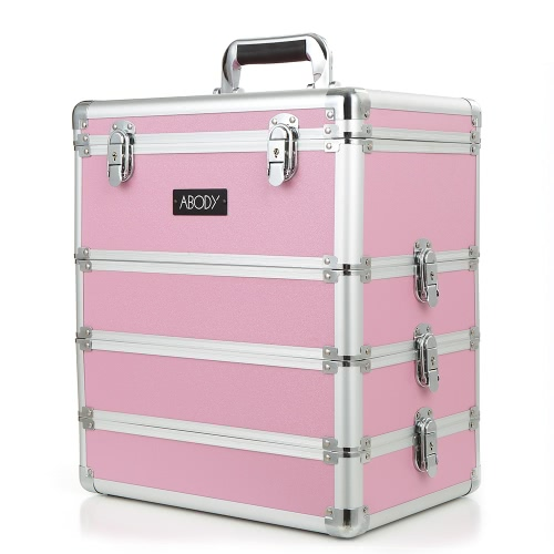 Abody Cosmetic Train Box Makeup Storage Case Makeup Artists 4 in 1 Makeup Case Lockable Case Extendable Aluminum Organizer Pink