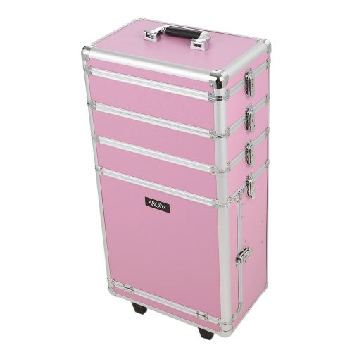 Buy Abody Rolling Cosmetic Train Case Organizer Extendable Makeup Trays Locking Storage Box Pink
