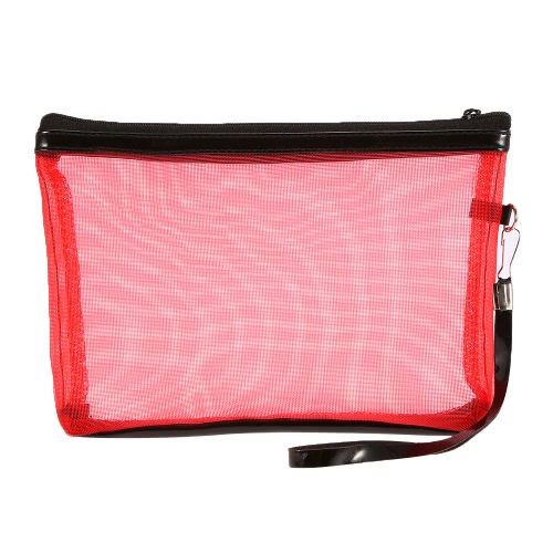 Buy Anself Ladies Cosmetic Makeup Bags Nylon Mesh + Zipper Design Portable Casual Travel Storage Toiletries Toiletry 5 Colors Selection Red