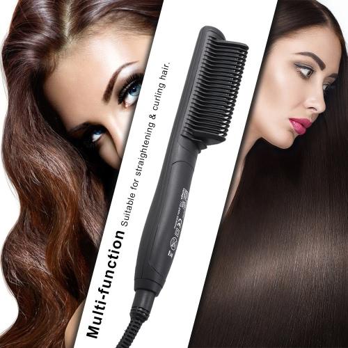 Abody Electric Hair Straightening Brush Comb Negative Ion Straightener Adjustable Temperature LED Digital Display EU Plug