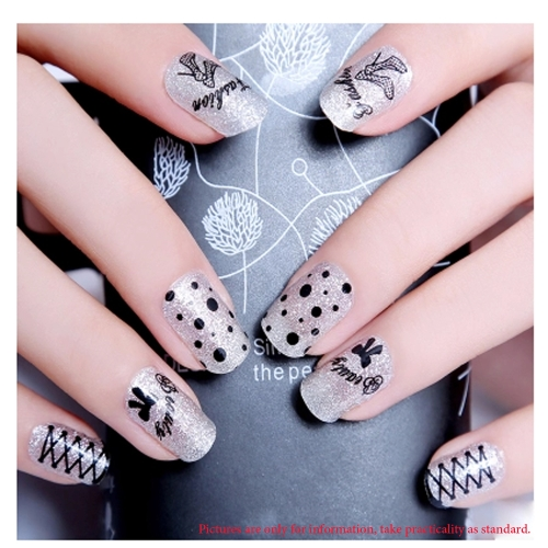 Buy 30 Sheets Fashion 3D Design Cute DIY Strip Black White Lace Flower Tip Nail Art Stickers