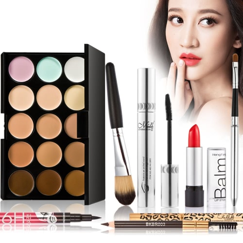 Buy Makeup Luxurious Set Gift Pack 15 Color Cream Camouflage Concealers Palette Earth Tone Eyeliner Mascara Eyebrow Pencil Lipbrush Lipstick Brush Bag