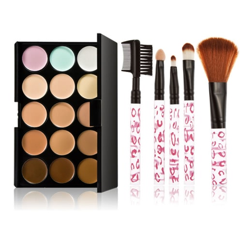 Buy Makeup Brush Set Eyebrow Blusher 15 Color Cream Camouflage Concealers Palette Eye Face Cosmetic Earth Tone