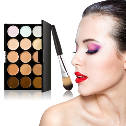 Buy 15 Color Cream Camouflage Concealers Palette Eye Face Cosmetic Makeup Wooden Brush Concealer Dual Set