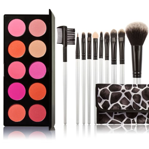 Professional 10 Color Women Cosmetic Makeup Warm Color Glittering Matte Combine Eyeshadow With Makeup Brush Set Makeup Brush Case Eyeshadow Brush Lip Brush