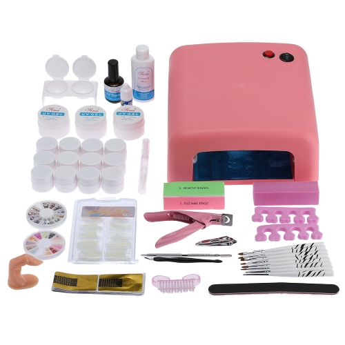 Buy Professional Nail Art Manicure Decoration 36W Lamp UV Gel Tool Brush Remover Tips Glue Acrylic Kits DIY Set