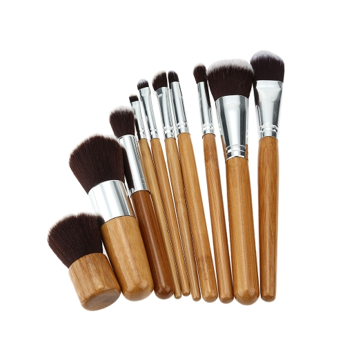 Buy 10pcs/set New Makeup Brushes Facial Brush Eyeshadow Lip Eyeliner Professional Cosmetic Kit Environmental Bamboo+ Fur Tools Beauty Set