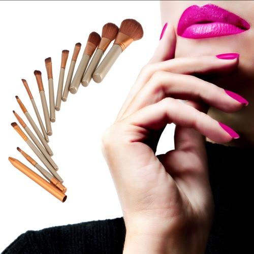 Buy 12 Pcs/set New Makeup Brushes Facial Brush Eyeshadow Lip Eyeliner Professional Cosmetic Kit Tools Beauty Set Metal Box