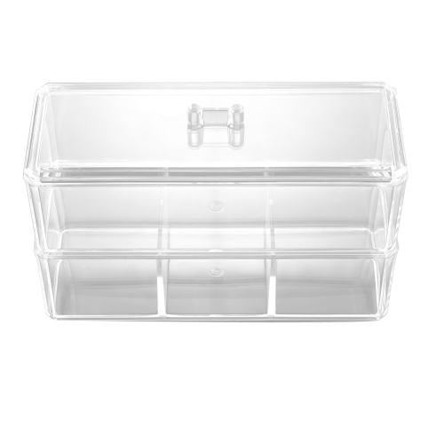Buy Double Layer Desktop Cosmetics Storage Box Transparent Dressing Perfume Skin Care Products Jewelry