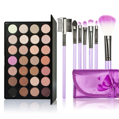 New 28 Colors Eyeshadow Palette + 7PCS Purple Makeup Brush