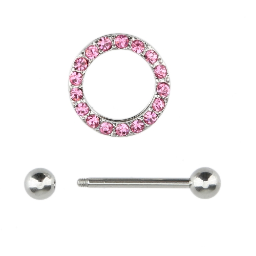 1Pc Paved Circle Nipple Shield Body Piercing Bar for Women Body Jewelry от Tomtop.com INT