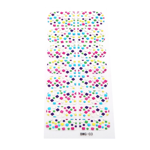Buy 16pcs/pack Nail Art Stickers Decal Transparent Girl DIY 3D Design Rhinestone Eco-friendly