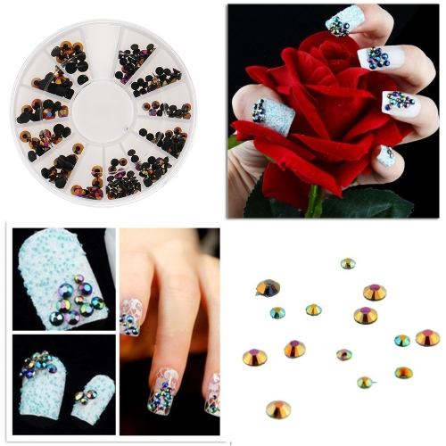 Buy 1Set 3D Nail Art Tips Mixed Sizes Round Shape Resin Rhinestone DIY Decoration + Wheel
