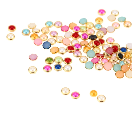 Buy 203D Nail Art Tips Mixed Colors Pearls Studs Glitter Rhinestone DIY Decoration Two Bags Together