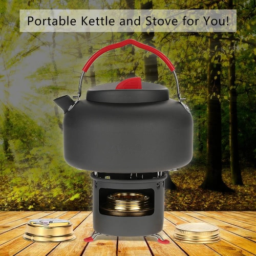 ALOCS Lightweight Outdoor Kettle Teapot Camping Cookware Water Boiler Pot 1.4L Alcohol Stove Heater And Support Bracket Portable