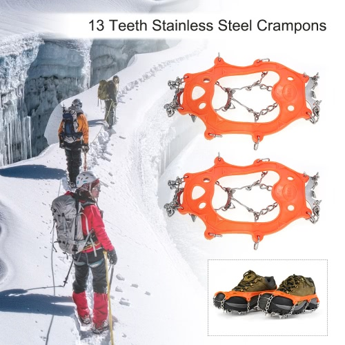 1 Pair 13 Teeth Crampons Non-slip Shoes Cover Stainless Steel Crampon Traction Device Outdoor Ski Ice Snow Hiking от Tomtop.com INT