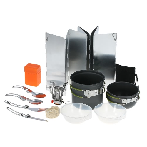 TOMSHOO 11PCS Outdoor Camping Cookware Set Portable Hiking Backpacking Cooking Picnic Cooking Pot Pan Set Bowl Spoon Fork Spork Cutlery Dinnerware with Folding Piezo Ignition Stove