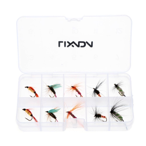 Lixada 10pcs Fly Fishing Hooks Carbon Steel Fly Fishing Lure Set Artificial bait with Box