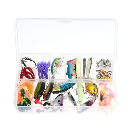 100pcs Artificial Fishing Lure Set Hard Soft Baits Minnow VIB Spinner Spoon Popper Pencil Crank Jig Head Hooks with Two-layer Fishing Tackle Box