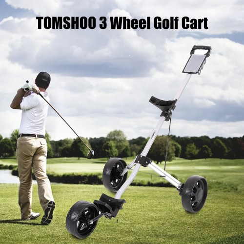 Buy TOMSHOO Golf Cart Foldable 3 Wheels Push Aluminum Pull Trolley Footbrake System