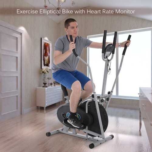fan bike. tomshoo elliptical bike 2 in 1 exercise height adjustable cross trainer fan home gym workout fitness machine with heart rate monitor r