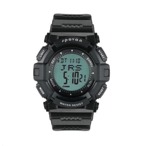 SPOVAN Multifunctional 5ATM Climbing Digital Sports Watch Wristwatch Pedometer Altimeter Barometer Thermometer Calendar World Time