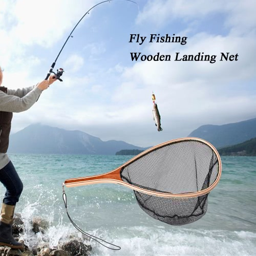 Fly fishing landing net wooden handle frame fish catch and for Wooden fishing net
