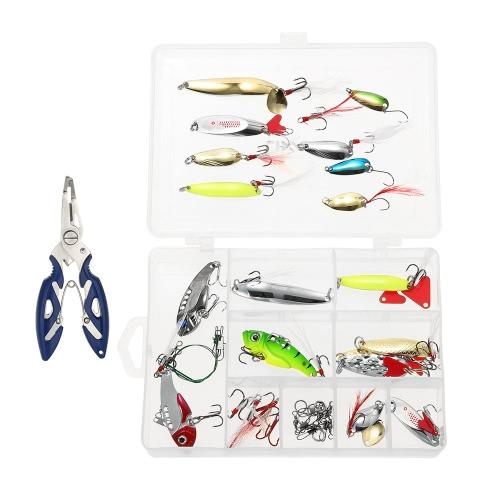 Buy Lixada 4Assorted Fishing Gear Hard Lure Baits Metal Sequins Pliers Offset Hook Swivel Tackle Kit Set Case