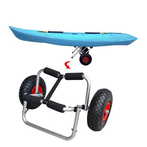 Buy 65KG Loading Capacity Foldable Kayak Trolley Energy-saving Two-wheeled Carrier Cart Canoe Boat
