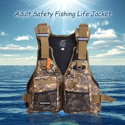 Professional Flotation Adult Safety Life Jacket Survival Vest Swimming Kayaking Boating Drifting with Emergency Whistle от Tomtop.com INT