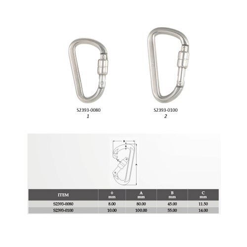 Stainless Steel Carabiner Snap Link with Screw Lock Hanging Hook Buckle for Outdoor Camping Hiking