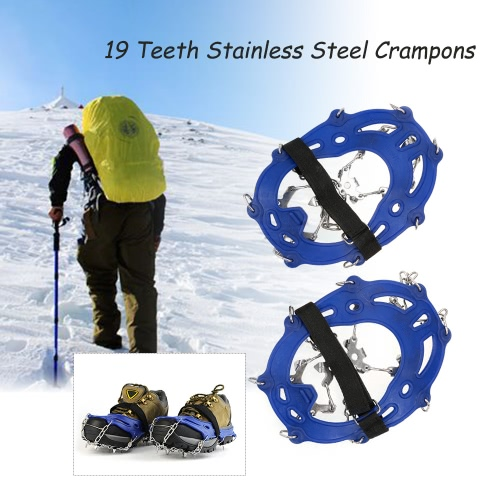 19 Teeth Stainless Steel Crampons Nylon Strap Non-slip Shoes Cover Outdoor Ski Ice Snow Device Hiking от Tomtop.com INT