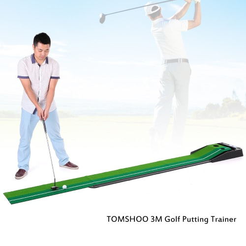 TOMSHOO Indoor 3m Golf Putting Trainer with Double Holes Gravity Ball Return Alignment Indicator for Beginners to Professional Players
