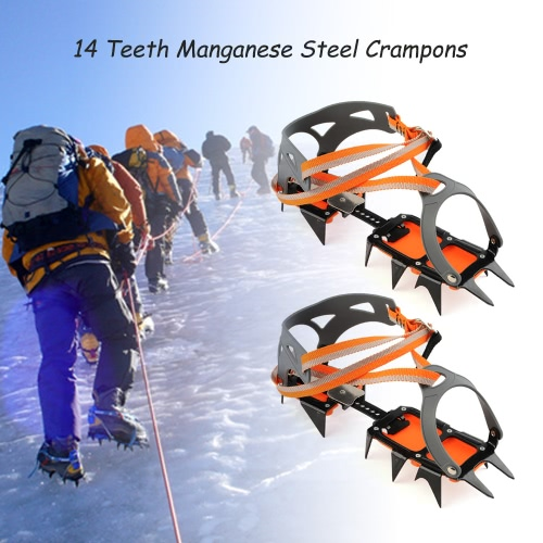 14-point Manganese Steel Climbing Gear Crampons Ice Grippers Crampon Traction Device Mountaineering Glacier Travel Ice Walking от Tomtop.com INT