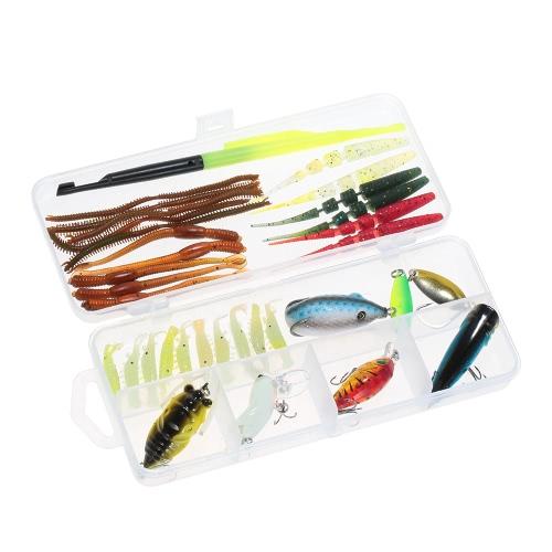 Lixada 34pcs Lure Kit Set Crankbaits Minnow Popper VIB Paillette Hard Spoon Crank Soft Baits Fishing Hooks