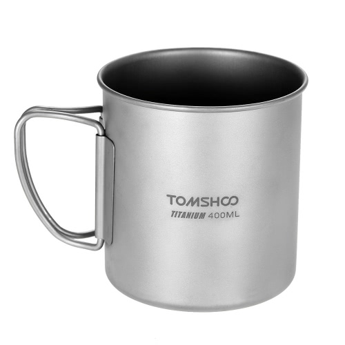TOMSHOO 400ml Titanium Cup Outdoor Portable Camping Picnic Water Cup Mug with Foldable Handle